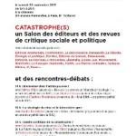 Catastrophe(s). Un salon des éditeurs et des revues de critique sociale et politique