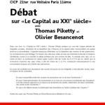 15 juin : débat sur «Le Capital au XXI° siècle» avec Thomas Piketty et Olivier Besancenot